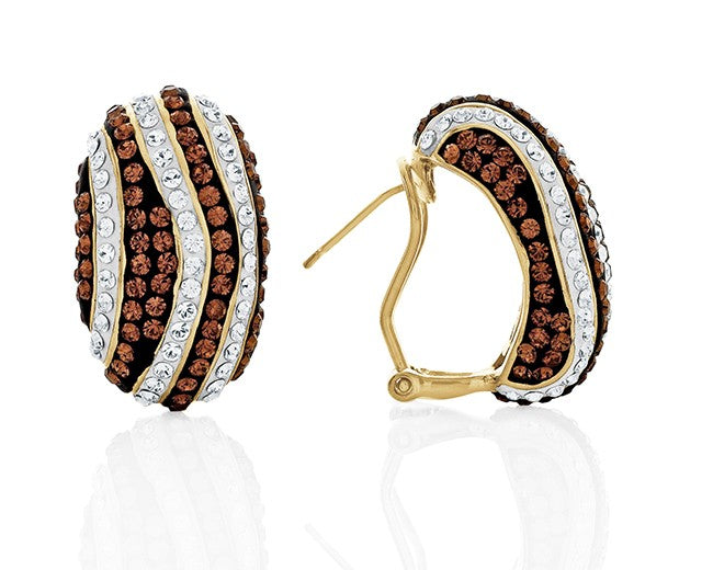 Gold Over Bronze Swirl Hoop Earrings