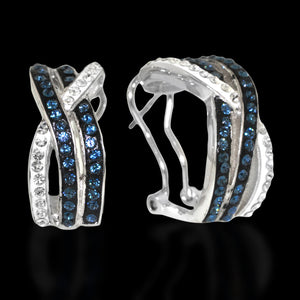 Platinum Over Bronze Blue Crystal Criss Cross Hoop