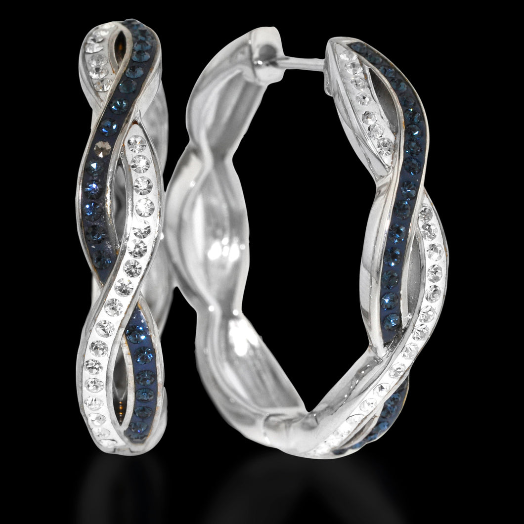 Platinum Over Bronze Blue Crystal Intertwined Hoop