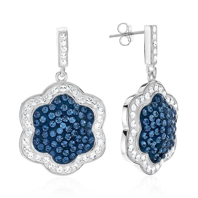 Platinum Over Bronze Blue Crystal Clover Drop Earrings