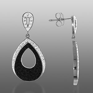 Platinum Over Bronze Pear Black Crystal Dangle Drop Earrings