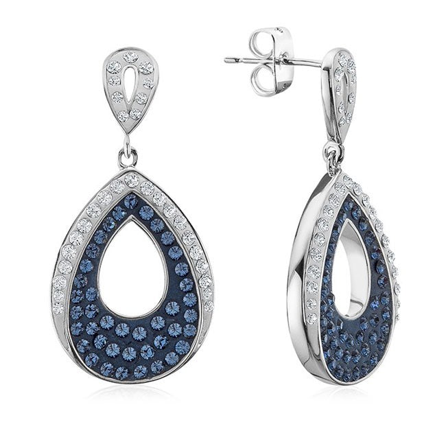 Platinum Over Bronze Pear Blue Crystal Dangle Drop Earrings