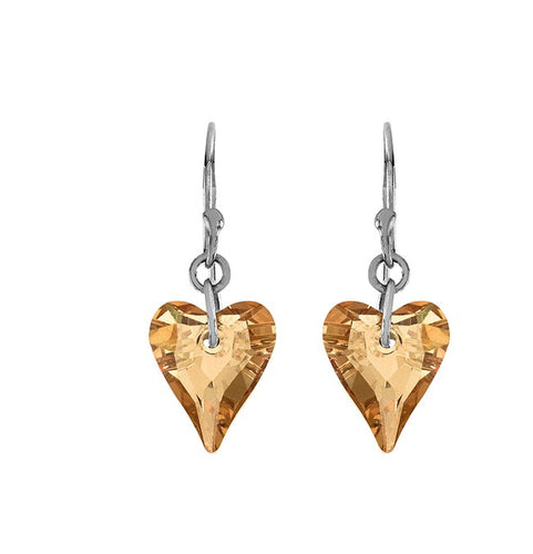 Swarovski Crystal Heart Earrings in Sterling Silver
