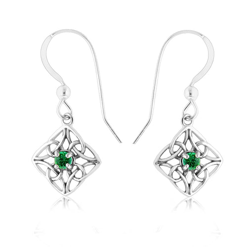 Sterling Silver & Emerald Celtic Trinity Knot Earrings
