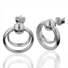 Load image into Gallery viewer, Polished Satin Double Hoop Earrings in Sterling Silver