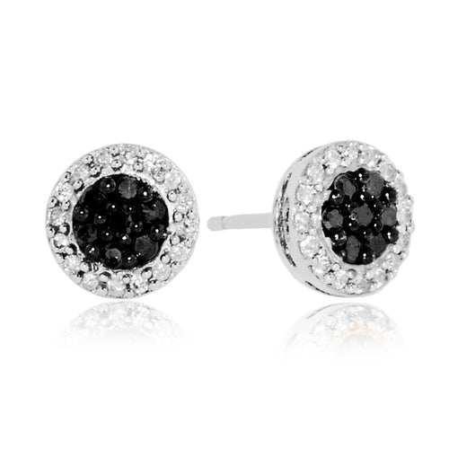 1/3 Carat tw Black & White Diamond Earring in Sterling Silver