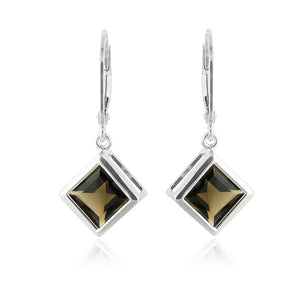 3.00 Carat Smokey Quartz Earrings in Sterling Silver