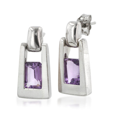 Sterling Silver Amethyst Dangling Post Earrings