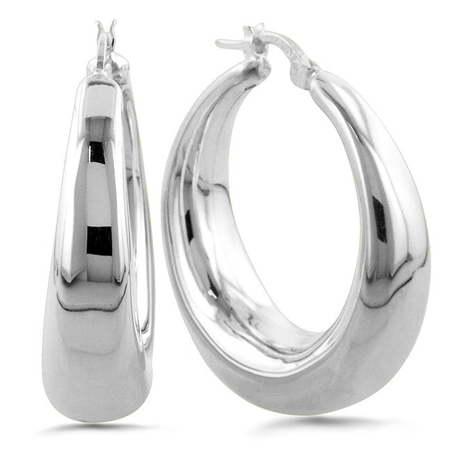 Sterling Silver Large Graduated Basic Hoop Earrings
