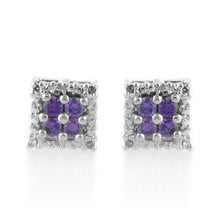 Load image into Gallery viewer, 1/2 Carat tw Amethyst & Diamond Earrings in Sterling Silver
