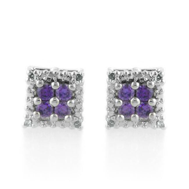 1/2 Carat tw Amethyst & Diamond Earrings in Sterling Silver