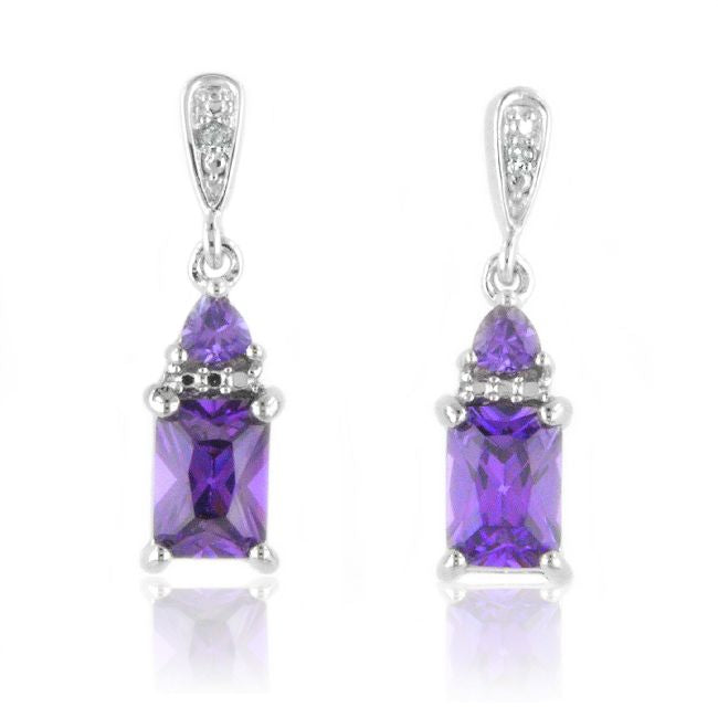 Amethyst & Diamond Drop Earrings in Sterling Silver