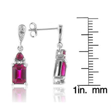 Load image into Gallery viewer, Ruby & Diamond Drop Earrings in Sterling Silver