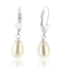 Load image into Gallery viewer, Pearl & Heart Drop Earrings in Sterling Silver