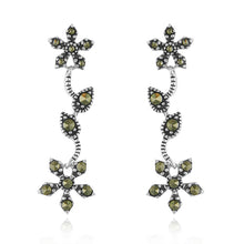 Load image into Gallery viewer, Sterling Silver Marcasite Flower Dangle Earrings