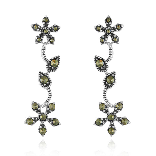 Sterling Silver Marcasite Flower Dangle Earrings