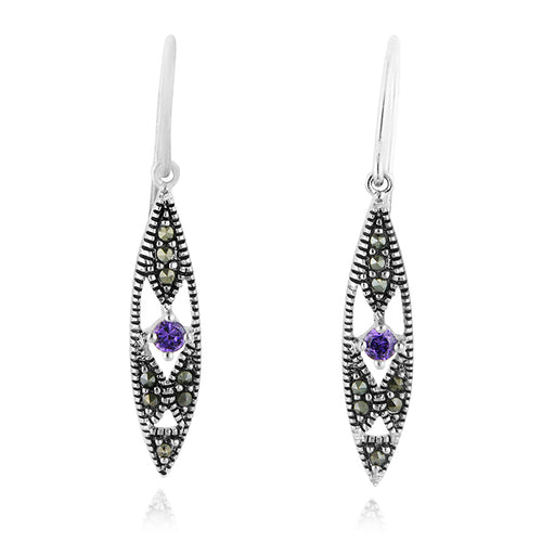 Sterling Silver Marcasite and Amethyst Dangle Earrings