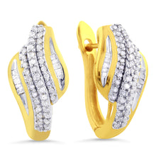 Load image into Gallery viewer, 1/3 Carat tw Diamond Hoop Earrings in Sterling Silver / 14K Gold Overlay