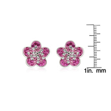 Load image into Gallery viewer, Pink and White Crystal Flower Earrings in Sterling Silver