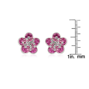 Pink and White Crystal Flower Earrings in Sterling Silver