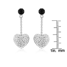 Load image into Gallery viewer, Sterling Silver Black and White Crystal Heart Dangle Earrings