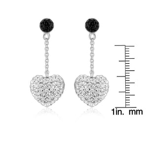 Sterling Silver Black and White Crystal Heart Dangle Earrings