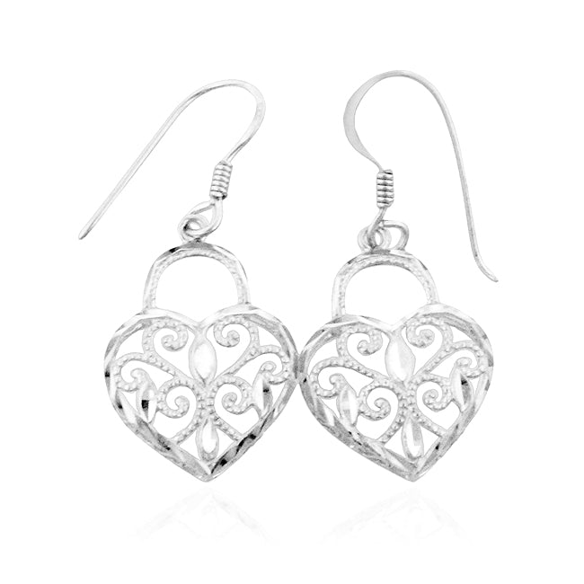Diamond Cut Heart Lock Earrings in Sterling Silver
