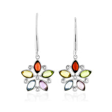 Load image into Gallery viewer, 2.75 Carat tw Multi Color Gemstone Flower Earrings in Sterling Silver
