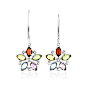 2.75 Carat tw Multi Color Gemstone Flower Earrings in Sterling Silver