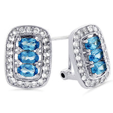 Load image into Gallery viewer, Aquamarine and White Sapphire Earrings in Sterling Silver