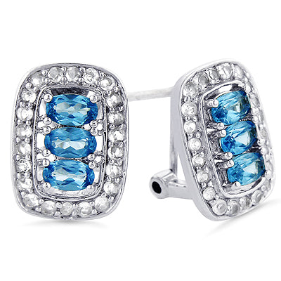 Aquamarine and White Sapphire Earrings in Sterling Silver