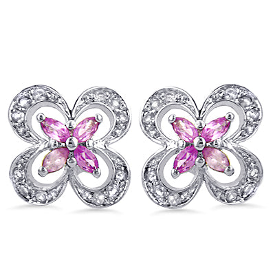 Sterling Silver Pink & White Sapphire Flower Earrings