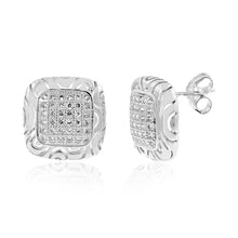 Load image into Gallery viewer, Micropave CZ Square Earrings in Sterling Silver
