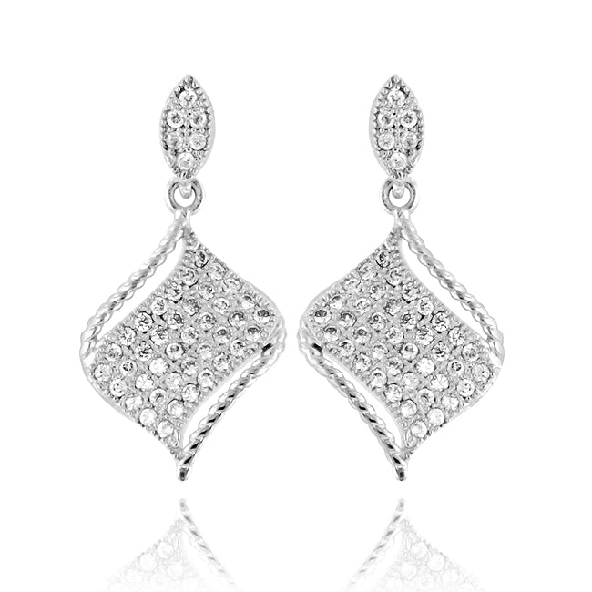 Micropave CZ Drop Earrings in Sterling Silver