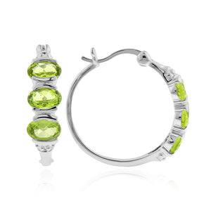 3.00 Carat tw Peridot Hoop Earrings in Sterling Silver