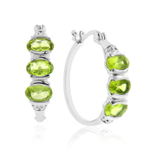 Load image into Gallery viewer, 3.00 Carat tw Peridot Hoop Earrings in Sterling Silver