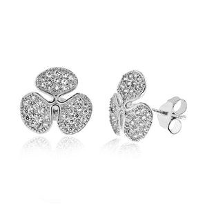 CZ Clover Earrings in Sterling Silver