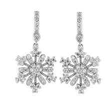 Load image into Gallery viewer, Sterling Silver and CZ Snowflake Earrings