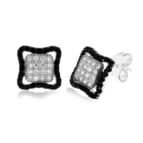 Black & White CZ Square Earrings in Sterling Silver