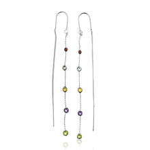 Load image into Gallery viewer, Multi color Gemstone Double Dangle Earrings in Sterling Silver