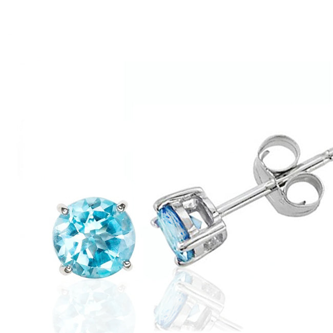 2.00 Carat tw Round Blue Topaz Stud Earrings in Sterling Silver