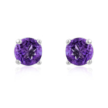 Load image into Gallery viewer, 1.00 Carat tw Round Amethyst Stud Earrings in Sterling Silver