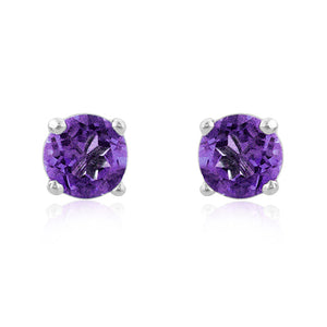 1.00 Carat tw Round Amethyst Stud Earrings in Sterling Silver