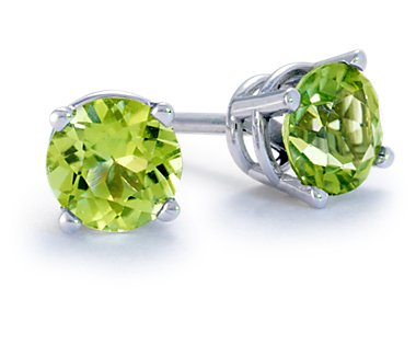 1.00 Carat tw Round Peridot Stud Earrings in Sterling Silver