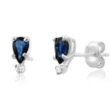 Load image into Gallery viewer, 0.70ct TW Sapphire & Diamond Accented Stud Earrings in Sterling Silver