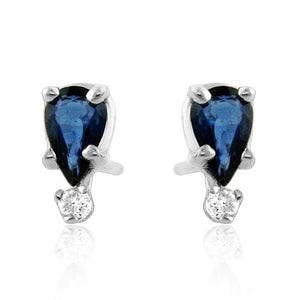 0.70ct TW Sapphire & Diamond Accented Stud Earrings in Sterling Silver