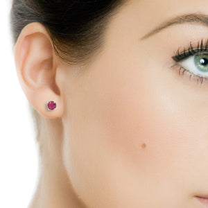 1.25 Carat tw Genuine Ruby Stud Earrings in Sterling Silver