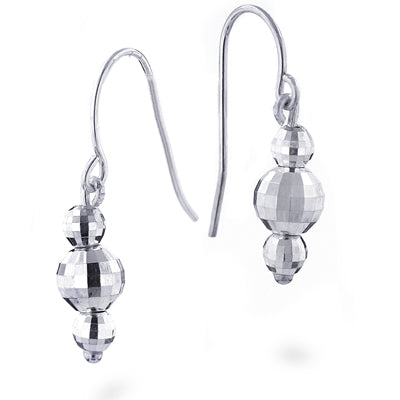 Sterling Silver Faceted 3-Ball Drop Earrings