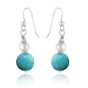 Turquoise and pearl earrings in Sterling Silver