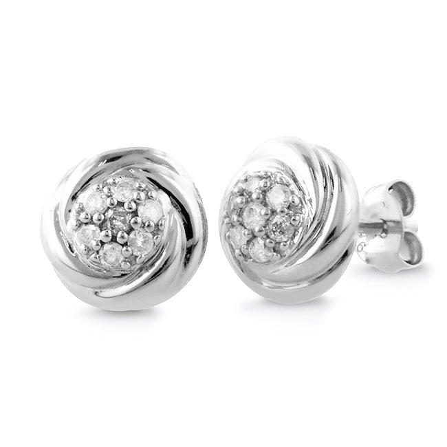 1/4 Carat tw Diamond Round Frame Earrings in Sterling Silver